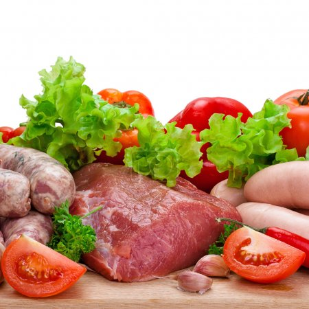 Meat and vegetables isolated