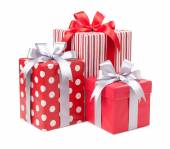 Red boxes with gifts