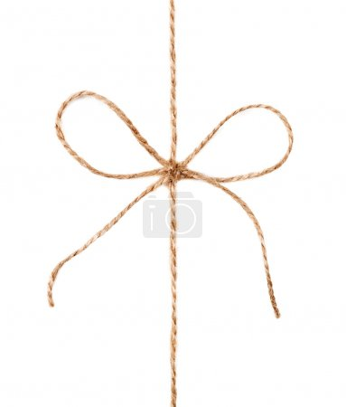 String and bow isolated on white background