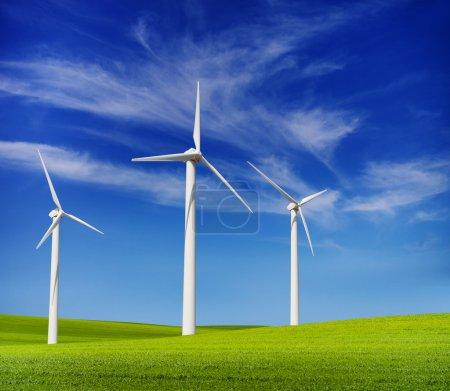 wind turbines in the green hills