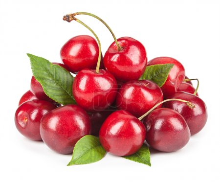 Ripe ripe cherries isolated on white background