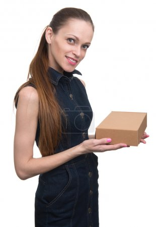 Photo for Attractive business woman with cardboard box. Isolated on white - Royalty Free Image