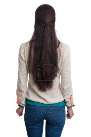 Photo pour Femme aux cheveux longs debout derrière. isolé sur blanc . - image libre de droit