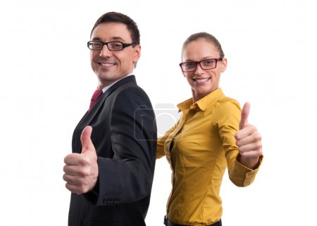 businessman and businesswoman showing thumbs up