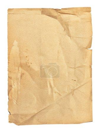 Photo pour Vieux papier froissé isolé sur fond blanc - image libre de droit