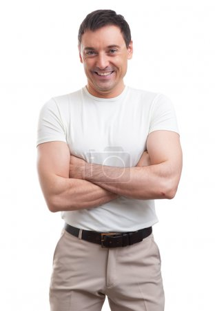 Photo for Muscular handsome man wearing a white T-shirt. isolated - Royalty Free Image