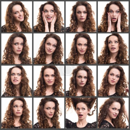 Photo pour Collage d'une jeune femme émotions différentes - image libre de droit