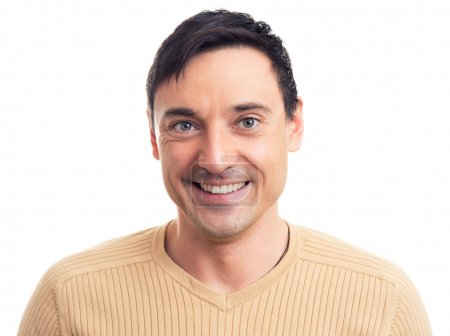 Photo for Close up portrait of a handsome guy with a smile on his face - Royalty Free Image
