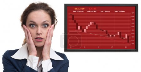 Photo for Stock market down on a screen. shocked business woman - Royalty Free Image