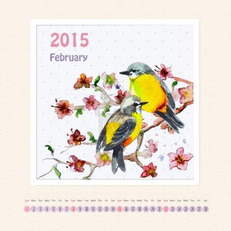 Calendar for february 2015 with bird