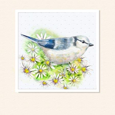 Photo pour Carte aquarelle avec un oiseau - image libre de droit