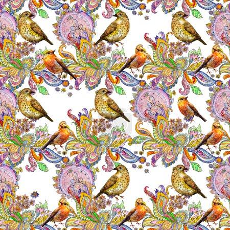 Cute birds watercolor
