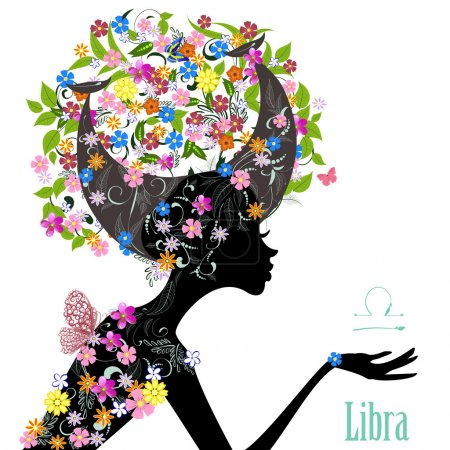 Illustration for Zodiac sign libra. fashion girl - Royalty Free Image