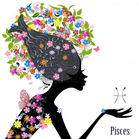 Illustration for Zodiac sign pisces. fashion girl - Royalty Free Image