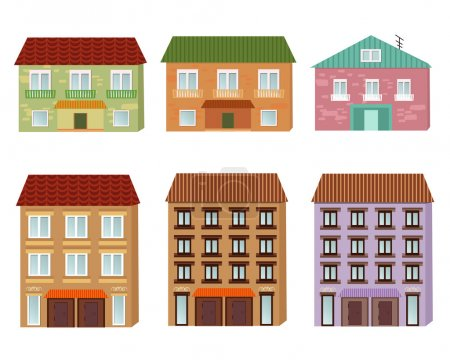 Illustration for Collection of cartoon buildings. Vector illustration - Royalty Free Image