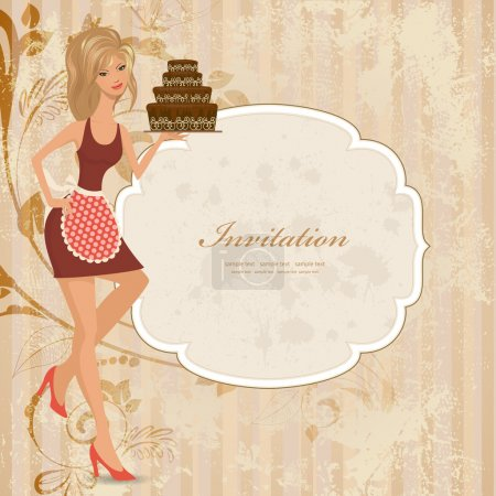 Illustration for Beautiful young woman with chocolate cake. Vector illustration - Royalty Free Image