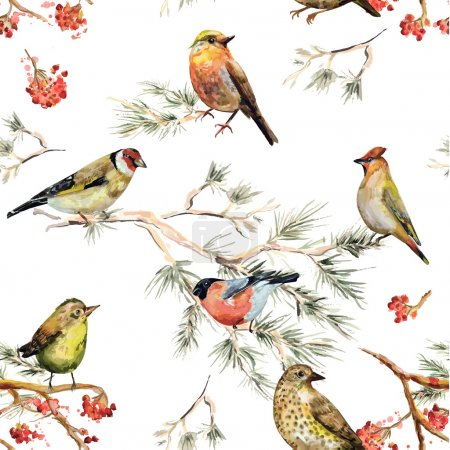 Illustration for Seamless texture of forest birds. watercolor painting - Royalty Free Image
