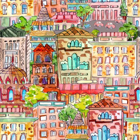 Seamless texture with cute cityscape. watercolor painting