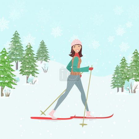 happy young woman skiing