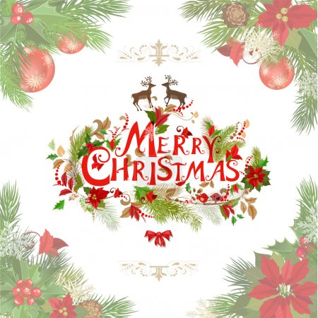 Illustration for Merry christmas lettering with pine tree pattern - Royalty Free Image