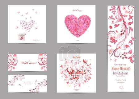 Illustration pour Cartes d'invitation romantique de collection avec amour, papillons volent pour votre conception - image libre de droit