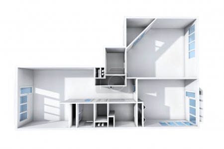 3D rendering. Model of the three-room apartment. The empty apartment without furniture, bathroom equipment and finishing.
