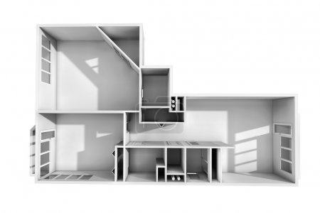3D rendering. Model of the three-room apartment. The empty apartment without furniture, bathroom equipment and finishing. The sunlight gets to windows.