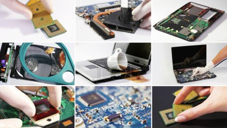 Photo for Set collage of computer (laptop) hardware and components photos - Royalty Free Image