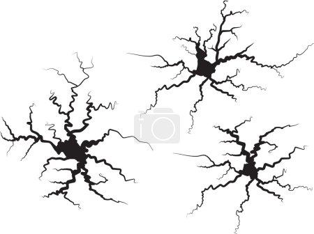 Illustration for Set of vector cracks on white. Vector illustration. - Royalty Free Image