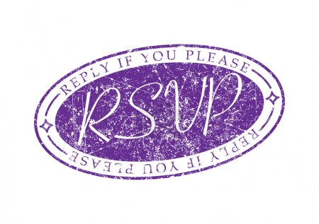 Illustration for RSVP Reply if you please invite rubber stamp. - Royalty Free Image