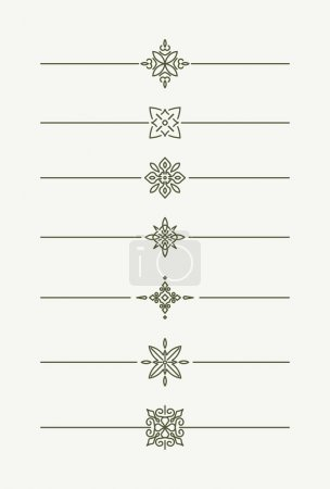 Illustration for Set of decorative vector mono line style text dividers - decorative elements - Royalty Free Image