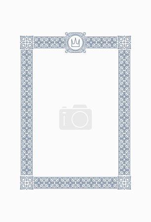 Luxury, ornate, vintage frame with crown