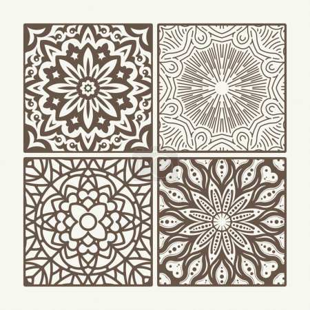Set of 4 square lace floral vintage designs