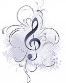musical background with a treble clef
