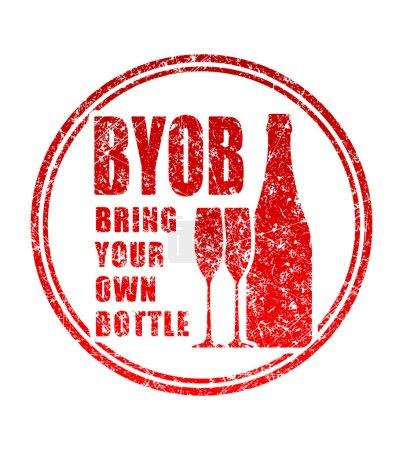Illustration pour Timbre en caoutchouc avec le mot BYOB - Apportez votre propre bouteille isolée sur fond blanc - image libre de droit