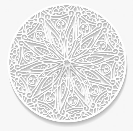 Round paper lace doily, greeting card. Decorative,...