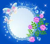 Magic background with flowers butterflies openwork frame and a place for text or photo