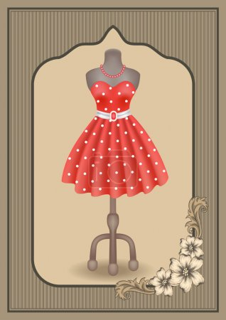 Dress with polka dots on dummy on showcase in vintage frame with