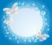 Magic background with transparent butterflies openwork frame and a place for text or photo