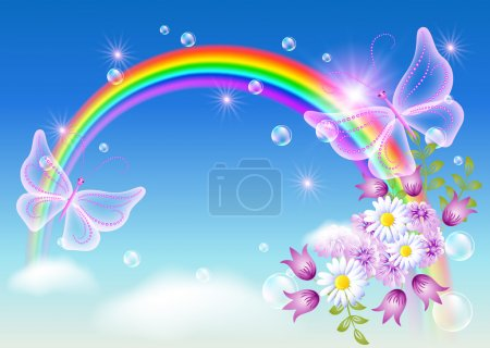 Illustration for Rainbow with flowers and magic butterfly in the sky - Royalty Free Image