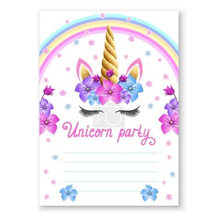 Illustration pour Invitation de fête d'anniversaire de bébé. Fabuleux Unicorn célébration magique inviter. fée licorne princesse fille pour magie fête invitation conception. - image libre de droit