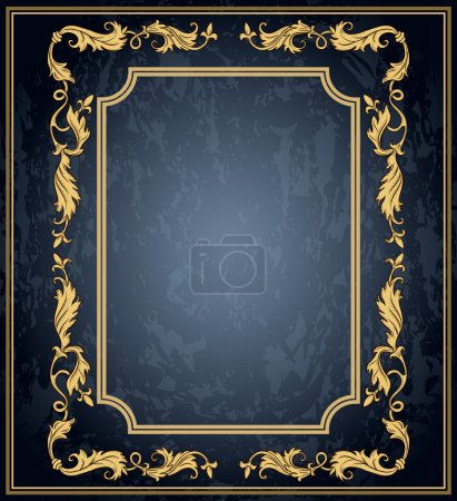 Illustration for Vintage ornament frame in retro style and luxury royal floral pattern - Royalty Free Image