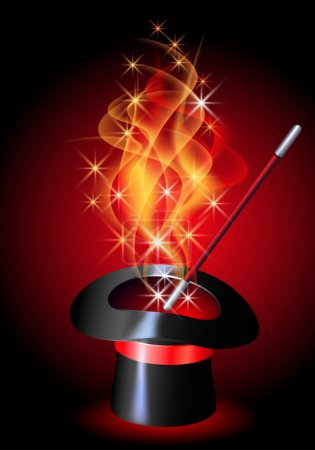 Conjurer hat with magic wand and blazing red fire...