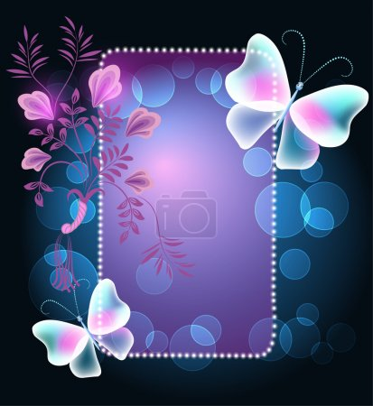 Glowing frame with butterflies and flowers