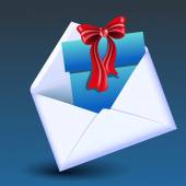 Open envelope with gift box and red bow on blue background