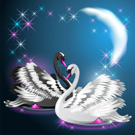 Two swans swim at night under the moon and glowing stars