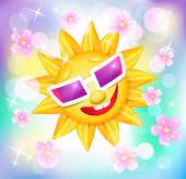 Smiling shines sun in glasses with flowers