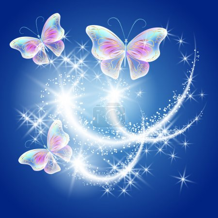 Illustration for Transparent fluing butterflies with golden ornament and glowing firework - Royalty Free Image