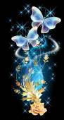 Transparent butterflies with golden ornament and glowing firewor