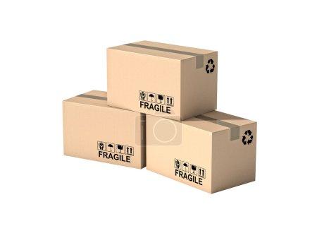 Photo pour Palette et boîtes isolées sur fond blanc - image libre de droit